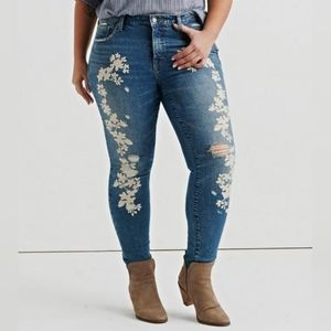 Lucky Brand Floral Embroidered Skinny Jeans